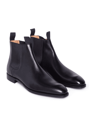 George Cleverley Black Calf Leather Robert Chelsea Boots