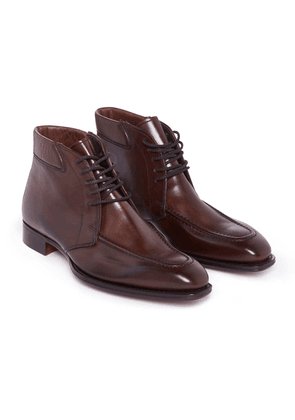Brown Calf Leather Laced Beattie Boots