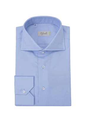 Cifonelli Blue Spread Collar Cotton Shirt