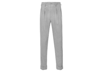 Edward Sexton Light Grey Hollywood Top Pleated Wool Trousers