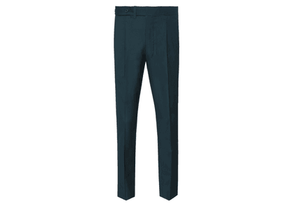 Ambrosi Dark Green Single Pleated Cotton Gabardine Trousers