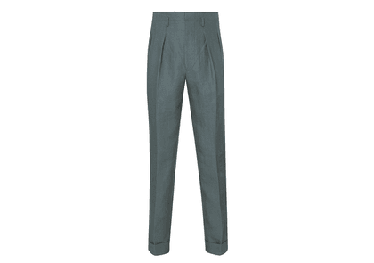 Edward Sexton Sage Green Hollywood Top Pleated Linen Trousers