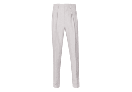 Edward Sexton Beige Hollywood Top Pleated Linen Trousers