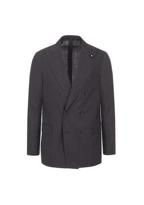 Charcoal Wool Pinstripe Double-Breasted Two-Piece Suit