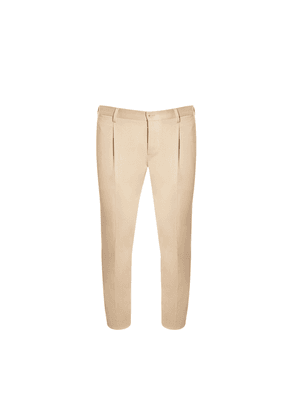 Salvatore Piccolo Beige Cotton Trousers