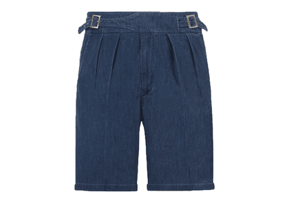 Rubinacci Blue Denim Manny Cotton Shorts