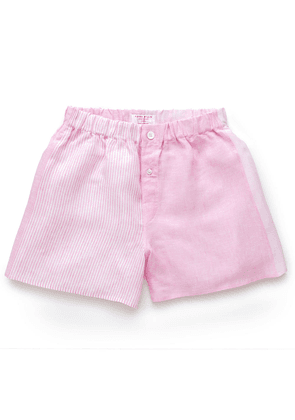 Pink Bengal Stripe Patchwork Linen Boxer Shorts