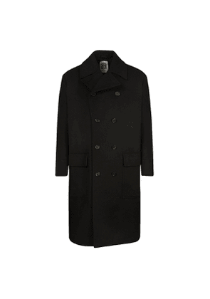 Black Unlined Oversized Double Breasted Wool Coat