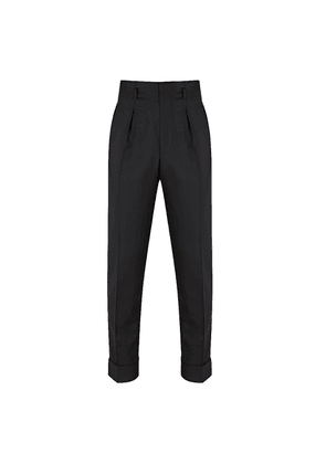 Black Wool Tapered Hollywood Top Trousers