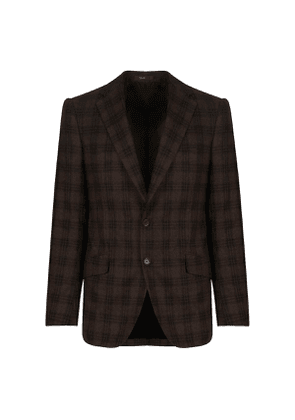 Cifonelli Brown Windowpane Check Single Breast Wool and Cashmere Jacket