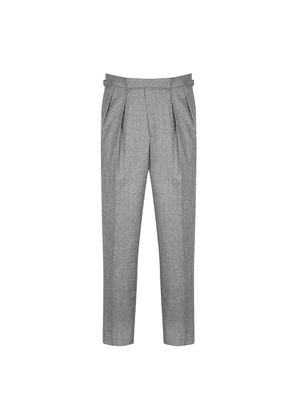 Kit Blake Grey Wool Houndstooth Aleksandar Pleated Trouser
