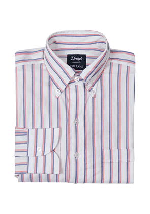 White, Navy and Pink Striped Cotton Button-Down Collar Oxford Shirt