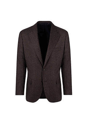 De Petrillo Brown Wool and Cashmere Houndstooth Jacket