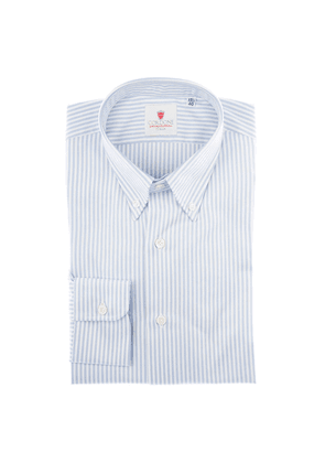 Cordone 1956 White and Blue Cotton Oxford Striped Shirt