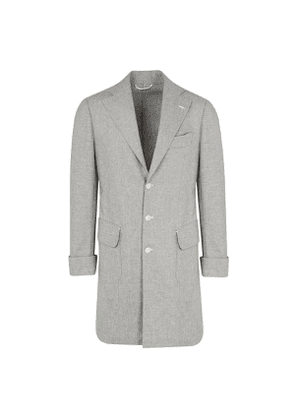 G. Inglese Grey Wool Flannel Single-Breasted Coat with Back Belt