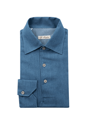 G. Inglese Denim Blue Cotton Long Sleeve Polo Shirt
