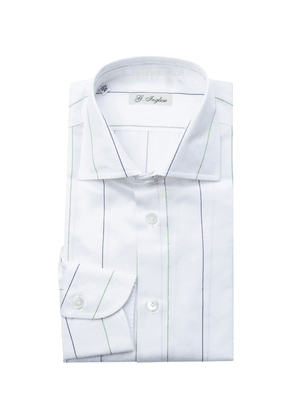 G. Inglese Blue, Green and White Cotton Five-Lines Shirt