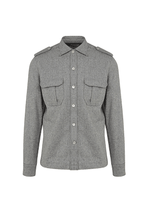 G. Inglese Light Grey Wool Flannel Over-Shirt