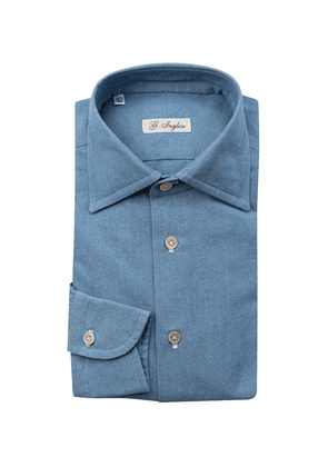 G. Inglese Denim Blue Cotton Shirt with White Buttons