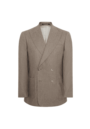Beige Wool and Cashmere Hyde Soft Chalk Stripe Suit
