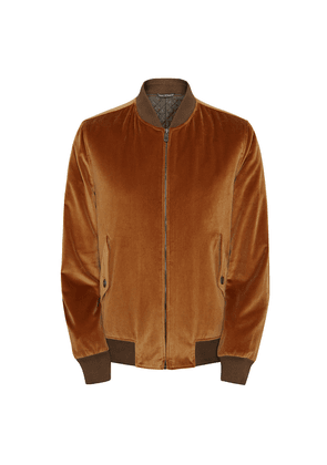 Richard James Gold Cotton Velvet Zipped Bomber with Quilted Lining