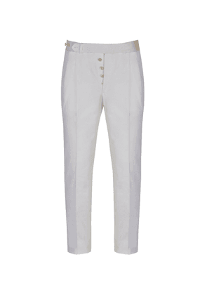 Dalcuore White Cotton Back-Buckle Pleated Trousers