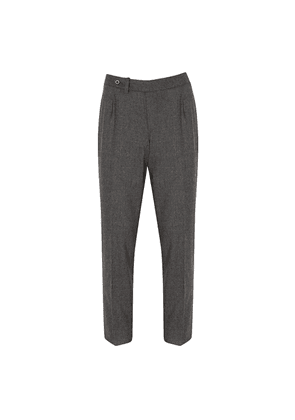 Salvatore Piccolo Grey Virgin Wool Single-Pleated Trousers