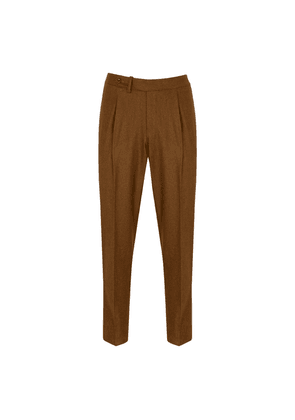Salvatore Piccolo Russet Virgin Wool Single-Pleated Trousers