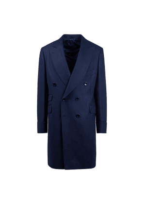 B Corner Navy Wool Pleated Double-Breasted Coat