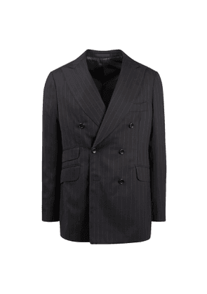 Black and White 160s Wool Pinstriped Double-Breasted Suit