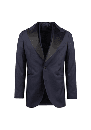 Blue and Black 160s Wool Single-Breasted Three-Piece Tuxedo