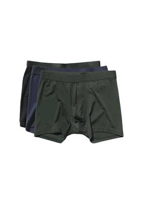 Black, Green and Blue Lyocell Boxer Briefs 3-Pack
