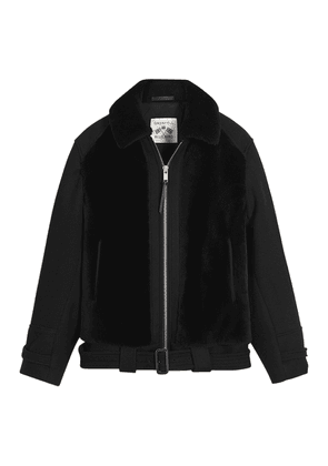 Grenfell Black Shearling and Merino Wool Grizzly Biker Jacket