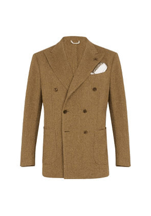 G. Inglese Green Wool Double-Breasted Herringbone Jacket