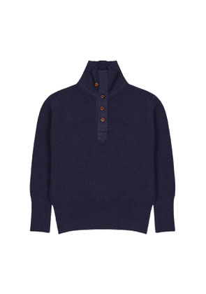 The Workers Club Navy Shawl Collar Jumper