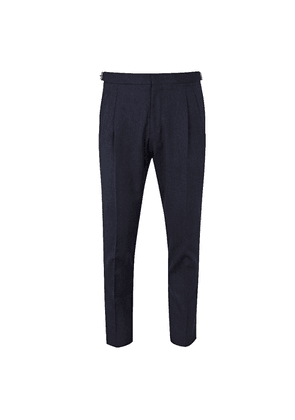 Lardini Grey Wool Pleated Trousers with Side Adjustors