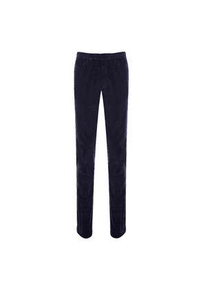 Doppiaa Marine Blue Cotton Corduroy Trousers