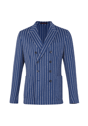 The Gigi Blue and White Stripe Cotton Double-Breasted Jacket