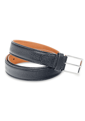Ludwig Reiter Black Scotch Grain thin Leather Belt