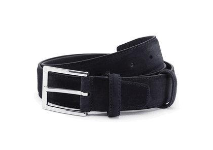 Carmina Navy Suede Leather Belt