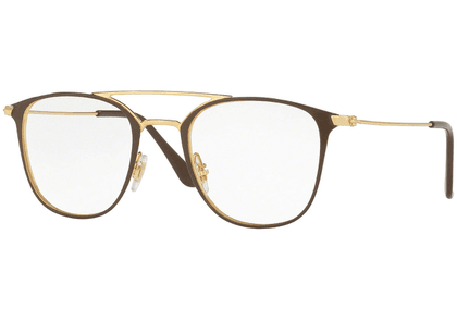 Ray-Ban Brown and Gold Frames with Clear Lenses Eyewear RX6377 2905
