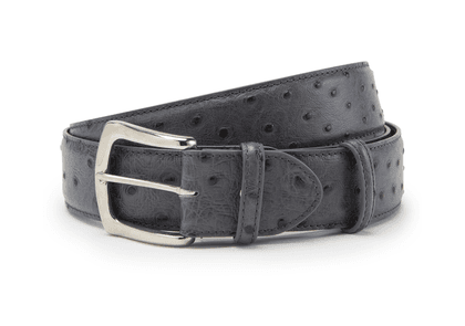 Elliot Rhodes Grey Ostrich Printed Leather with Silver Buckle Belt