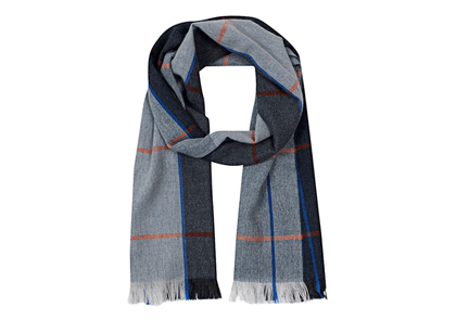 Seaward & Stearn Grey, Blue and Orange Lambswool and Angora Panels and Stripes Scarf