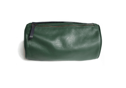 Pine Green Leather Wash Bag with Blue Parrot Print Silk Lining