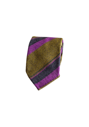 Mess of Blues Military Green, Navy and Purple Vintage Wool Striped Three-Fold Tie