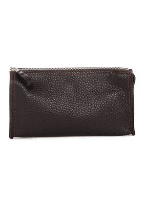 Brown Deer Leather Washbag with Mirror