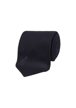 Drake's Navy Large Grenadine Silk Tie