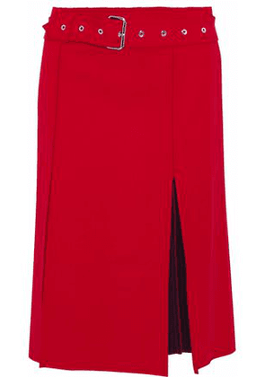 Helmut Lang Woman Belted Pleated Wool-blend Twill Skirt Red Size 4