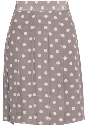 Marc Jacobs Woman Pleated Polka-dot Silk Crepe De Chine Mini Skirt Gray Size 4