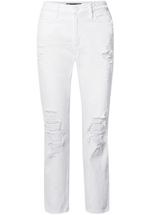 Alexander Wang Woman Cult Distressed High-rise Straight-leg Jeans White Size 25